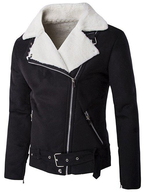 Moto Turn-Down Collar Zip-Up Suede Jacket - BLACK 2XL