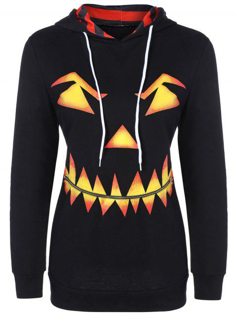 Pumpkin Head Drawstring Halloween Hoodie - BLACK L