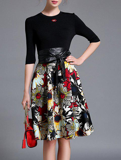 Floral Print Skirt + Pull Two Piece Dress - Noir S