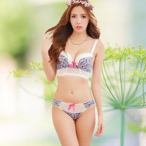 Floral Push Up Bra Set with Lace - AZURE 75B