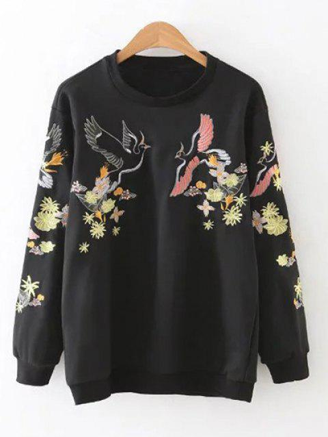 Relaxed Embroidered Sweatshirt - BLACK M