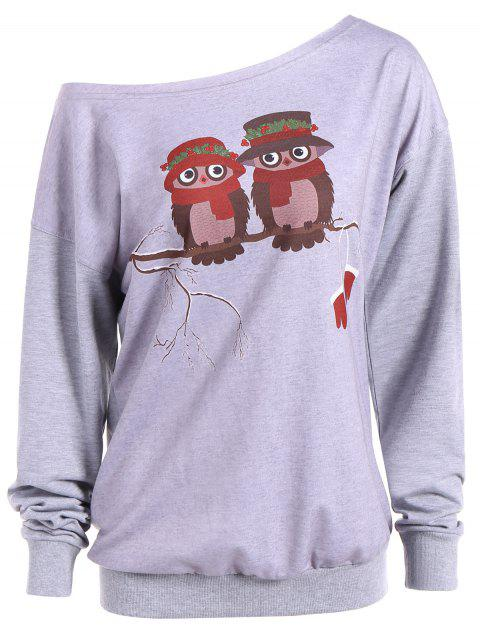Skew Neck Cartoon Owl Print Sweatshirt - GRAY M