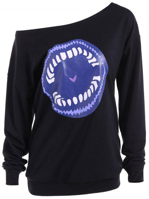 Skew Neck Cartoon Lip Print Sweatshirt - BLACK L