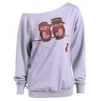 Skew Neck Cartoon Owl Print Sweatshirt - GRAY GRAY