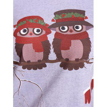Skew Neck Owl Cartoon Print Sweatshirt - gris L