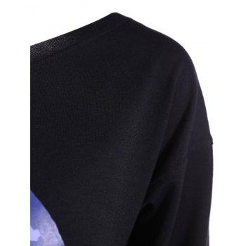 Skew Neck Cartoon Lip Print Sweatshirt - BLACK S