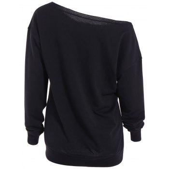 Skew Neck Lip Sweatshirt - BLACK L