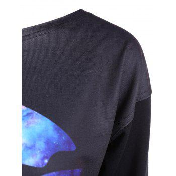Skew Neck Lip Sweatshirt - BLACK BLACK