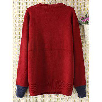Cartoon Jacquard Knit Sweater - WINE RED XL