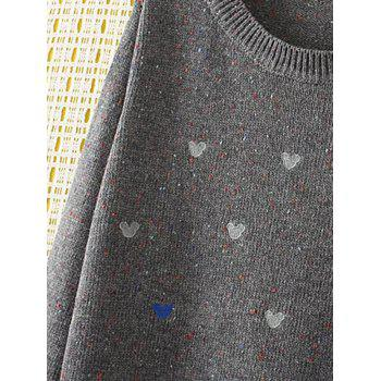 Oversized Embroidered Cartoon Sweater - GRAY XL