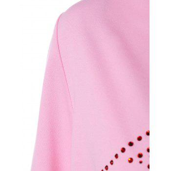 Drawstring Lip Pattern Zip Up Hoodie - PINK L