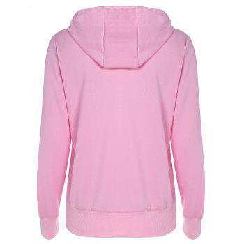 Drawstring Lip Pattern Zip Up Hoodie - PINK PINK