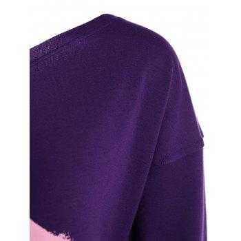 Skew Neck Lip Print Sweatshirt - PURPLE XL