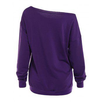 Neck Skew Lip Print Sweatshirt - Pourpre L
