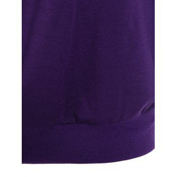 Skew Neck Lip Print Sweatshirt - PURPLE PURPLE