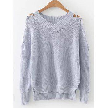 Step Hem Lacing Sleeve V Neck Jumper