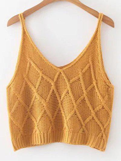 Knitted Checked Tank Top - EARTHY ONE SIZE