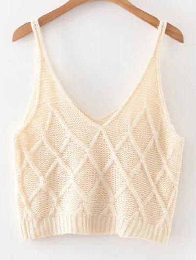 Knitted Checked Tank Top - OFF WHITE ONE SIZE
