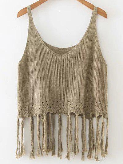 Knitted Crop Top With Tassels - GREEN ONE SIZE