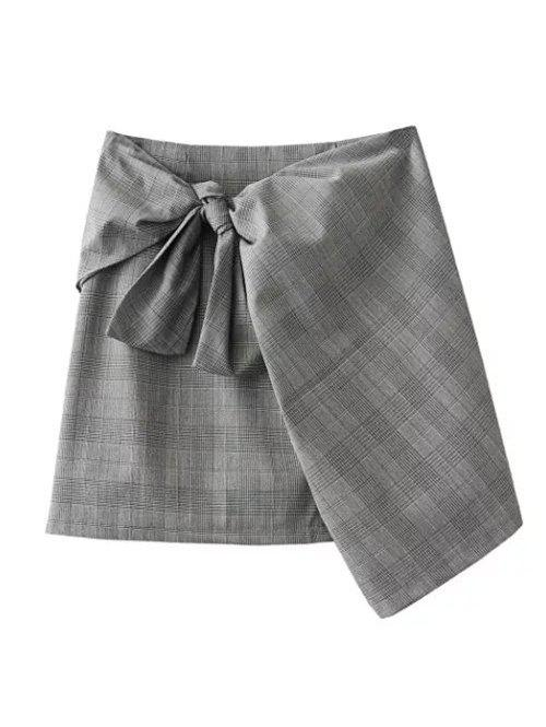 Plaid Mini Wrap Skirt - GRAY S