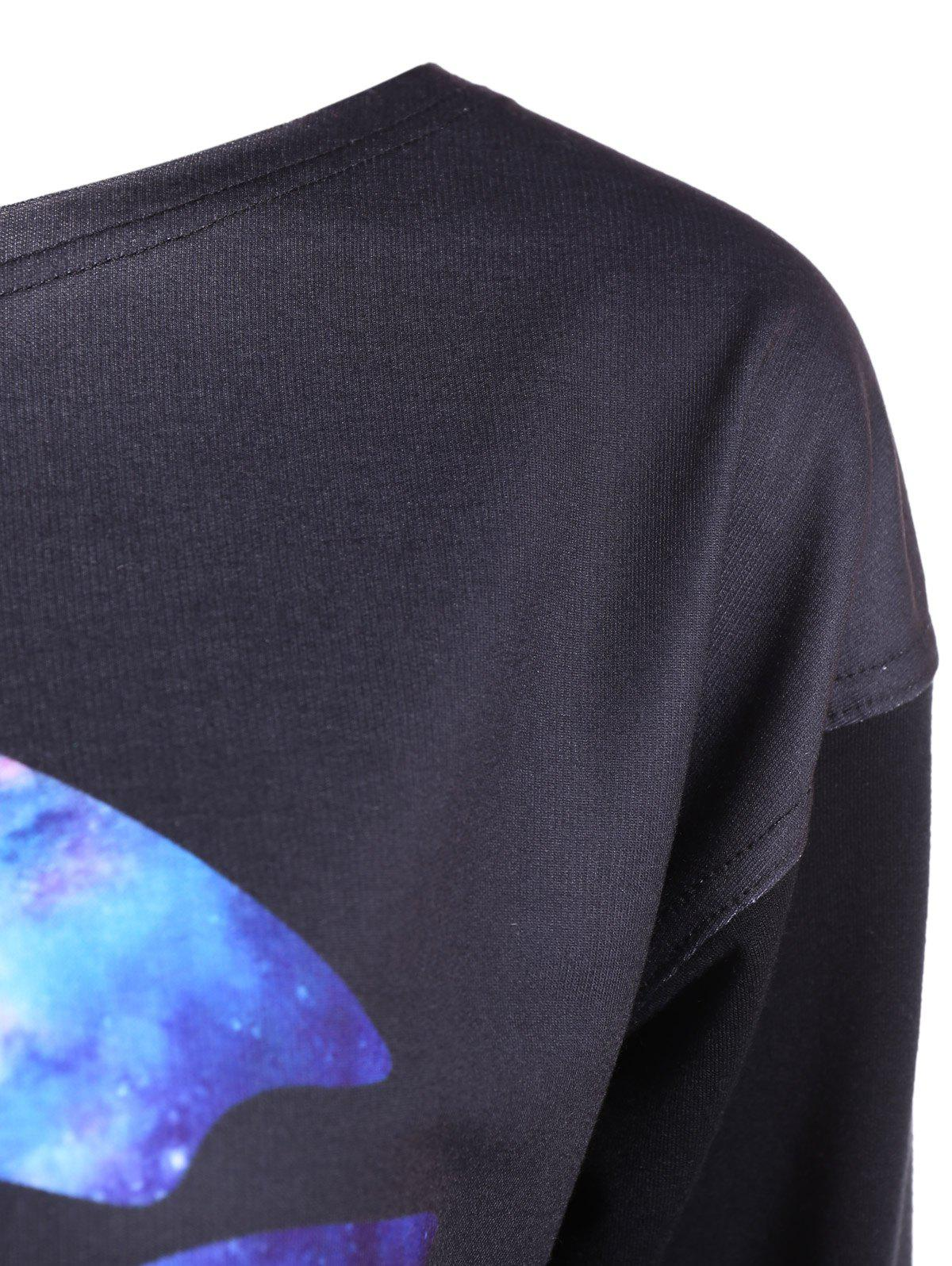 Skew Neck Lip Sweatshirt - BLACK S