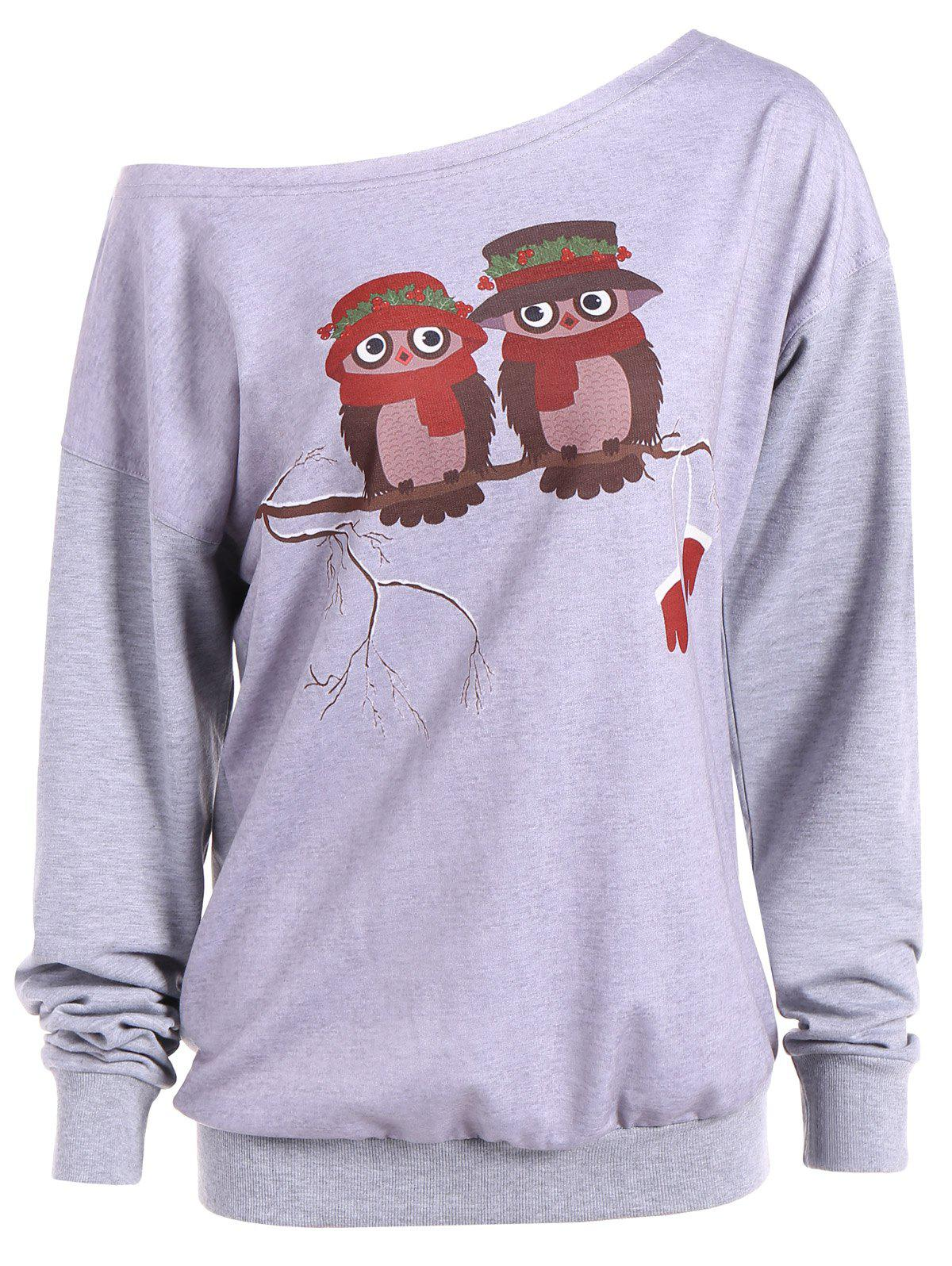 Skew Neck Owl Cartoon Print Sweatshirt - Gris S