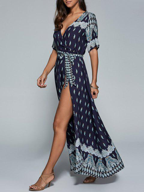 Surplice High Slit Paisley Maxi Dress - PURPLISH BLUE 2XL