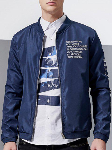 Stand Collar Graphic Print Zip-Up Jacket - BLUE XL