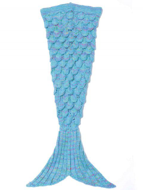 Endearing Multicolored Knitted Strtchy Mermaid Blanket - AZURE