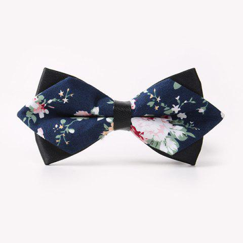 Business Suit Peony Sharp-Angled Double-Deck Bow Tie - CADETBLUE