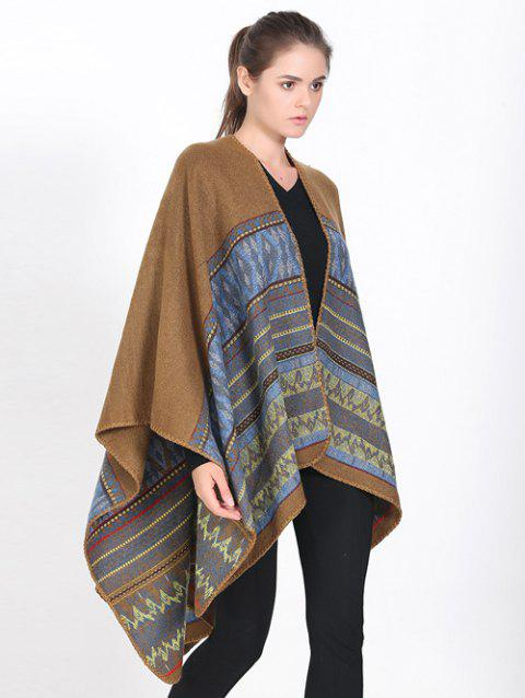 Streetwear Geometry Thicken Wrap Shawl Cape Pashmina - LIGHT BROWN
