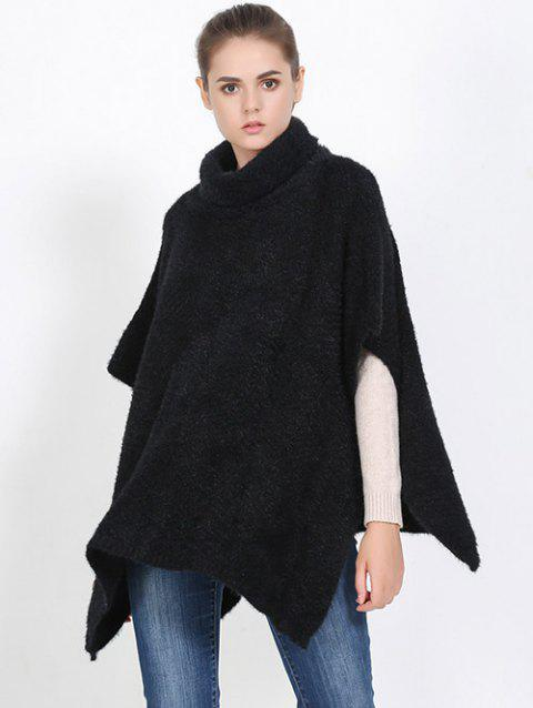 Streetwear High Neck Sweater Cape Poncho - BLACK