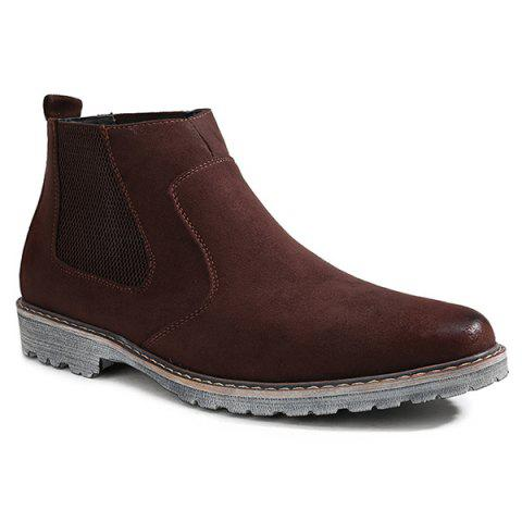 Slip-On Suede Ankle Boots - BROWN 43
