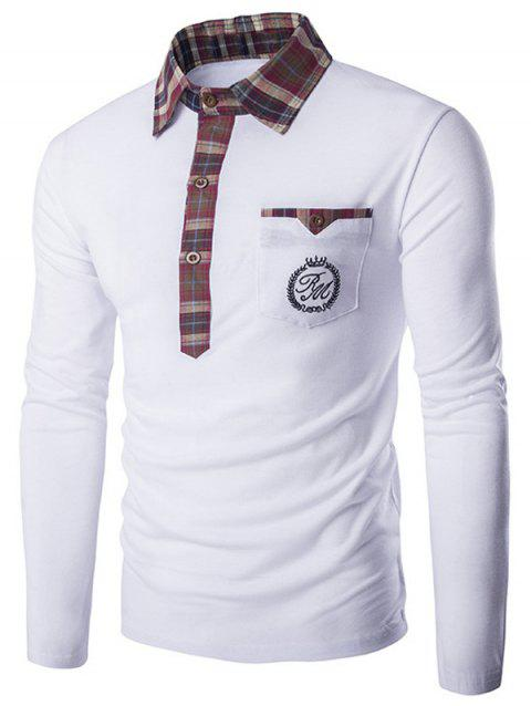 Plaid Collar Long Sleeve Embroidery T-Shirt - WHITE M