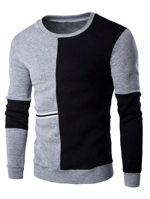 Braid Embellished Color Block Splicing Sweatshirt - BLACK/GREY M