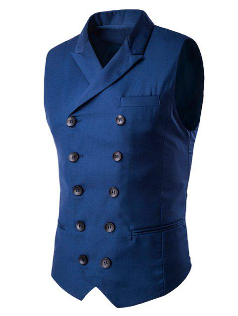 Lapel Edging Double-Breasted Waistcoat - BLUE 3XL