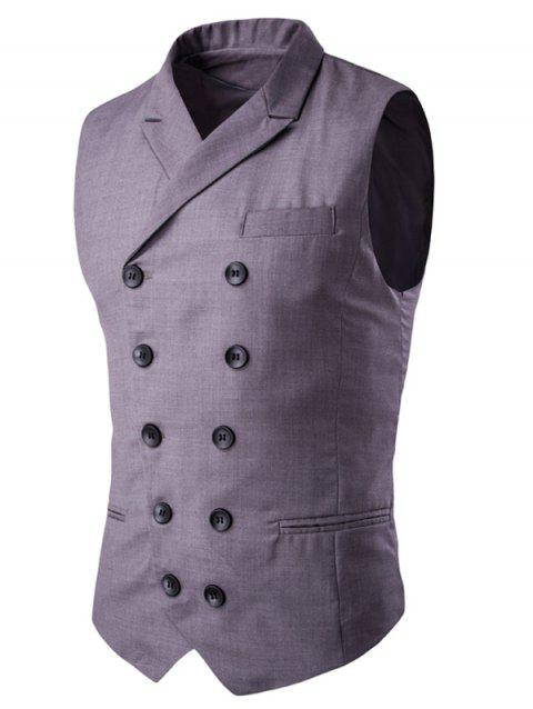 Lapel Edging Double-Breasted Waistcoat - GRAY M