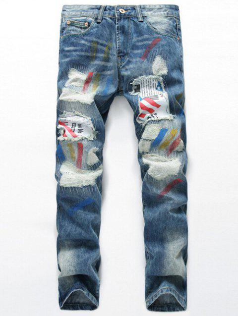 Splatter Paint Zipper Fly Patch Design Distressed Jeans - LIGHT BLUE 29