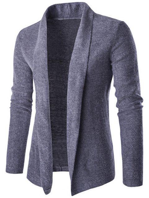 Shawl Collar Long Slim-Fit Cardigan - BLUE GRAY M