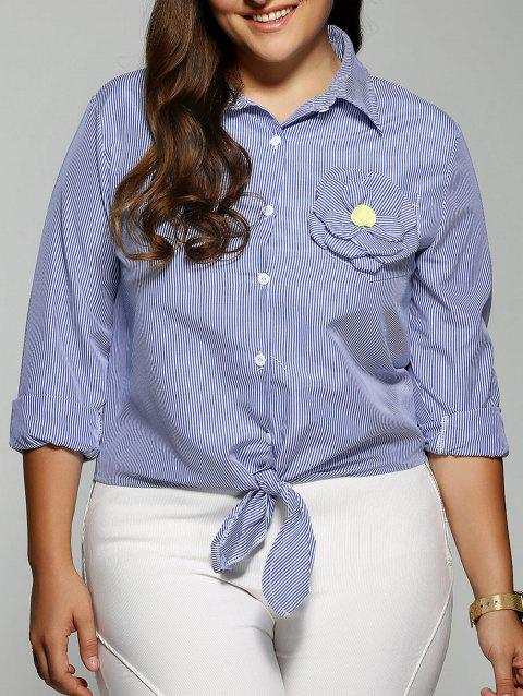 Plus Size Stereo Flower Striped Shirt - BLUE 4XL