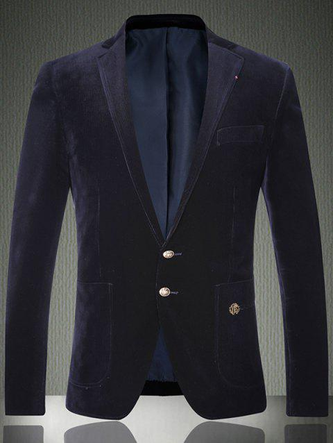 Simple boutonnage brodé Patch Pocket Corduroy Blazer - Cadetblue XL