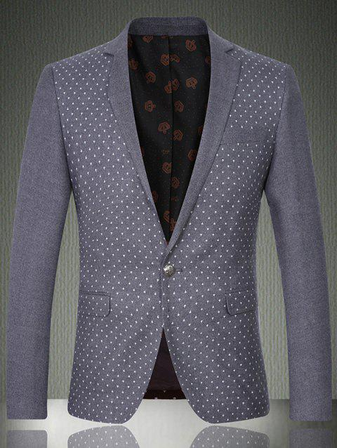Notch Lapel poche poitrine Imprimé One-Button Blazer - Gris 2XL