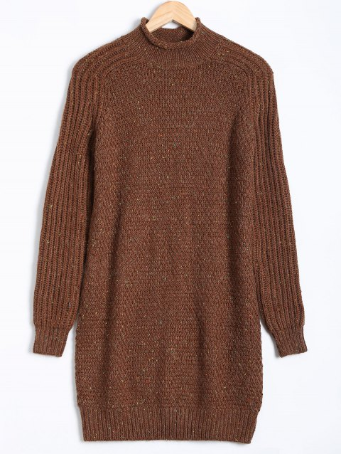 Paint Dot Ribbed Pullover Sweater - BROWN M