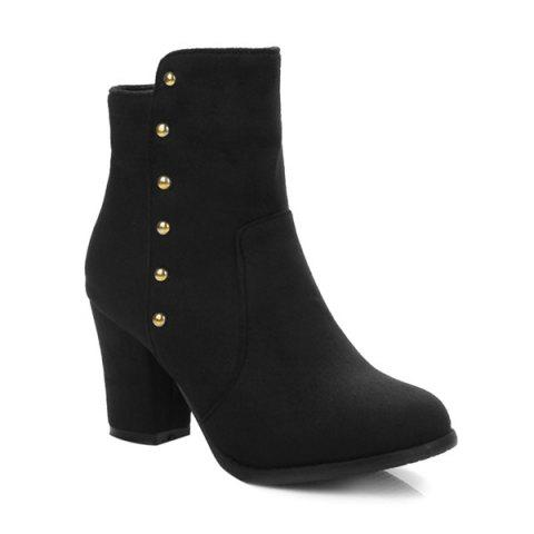 Zipper Suede Dome Stud Ankle Boots - BLACK 43