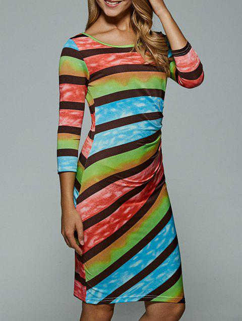 Colorful Stripe Bodycon Dress - BLUE S
