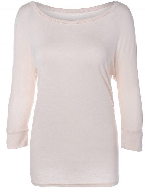 Scoop Neck Batwing manches T-shirt couleur unie - Abricot XL