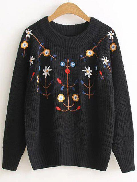 Pull floral brodé Pull - Noir ONE SIZE