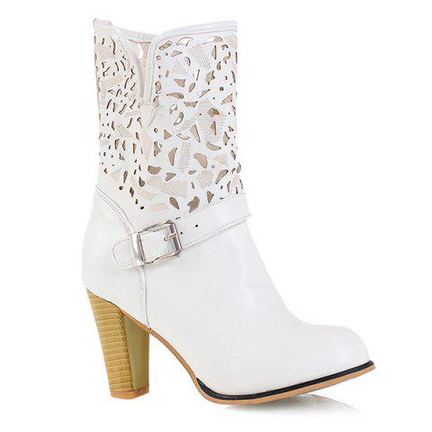 PU Leather Buckle Engraving Boots - WHITE 37