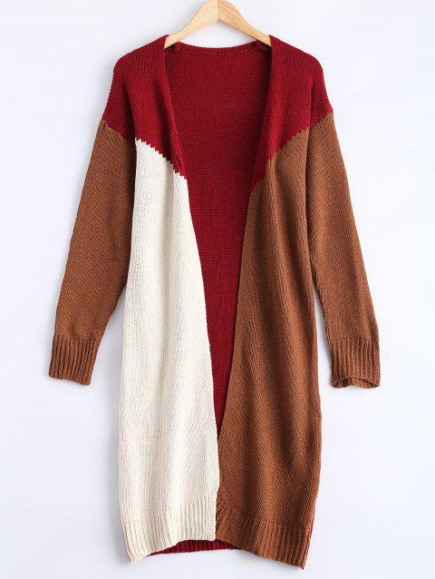 Contraste Collarless Couleur Patchwork Cardigan - Rouge ONE SIZE