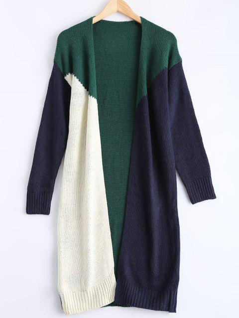 Contraste Collarless Couleur Patchwork Cardigan - Vert ONE SIZE